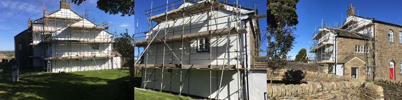 Photos showing the scaffolding for the render painting